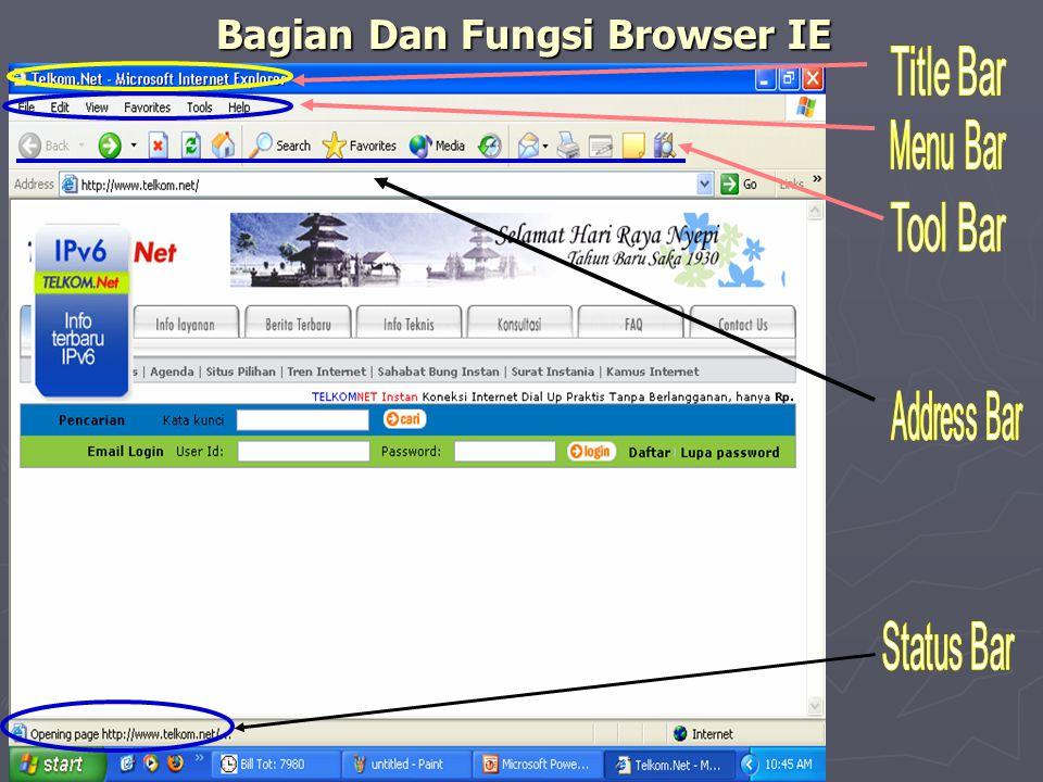 Bagian dan Fungsi Icon Browser IE Bagian dan Fungsi Icon Browser IE Keterangan: Keterangan: 1.