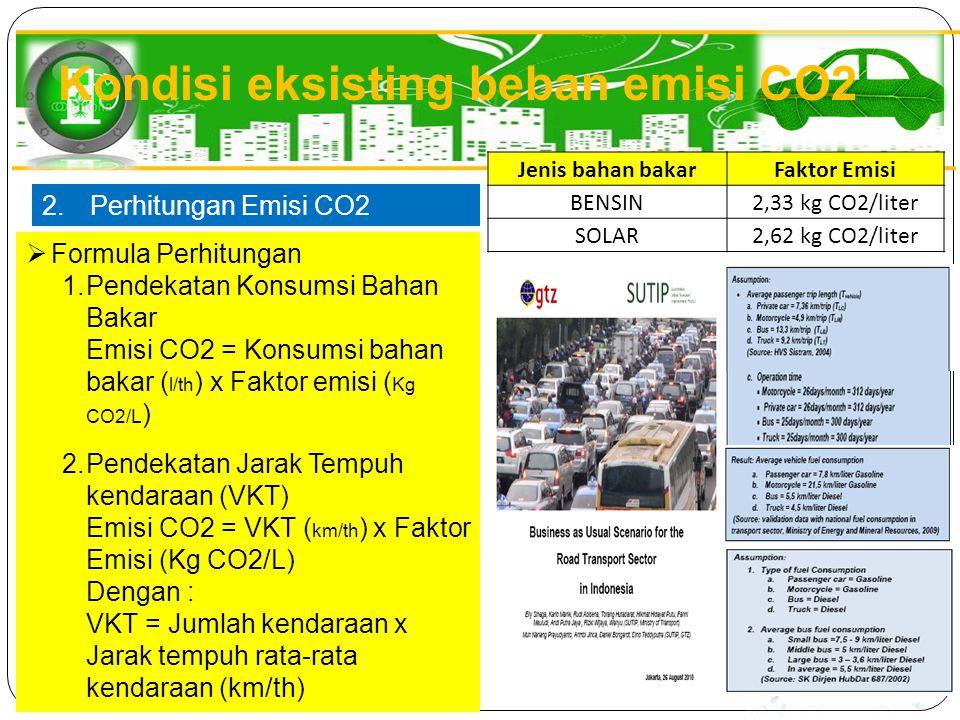 2.Perhitungan Emisi CO2  Formula Perhitungan 1.Pendekatan Konsumsi Bahan Bakar Emisi CO2 = Konsumsi bahan bakar ( l/th ) x Faktor emisi ( Kg CO2/L )