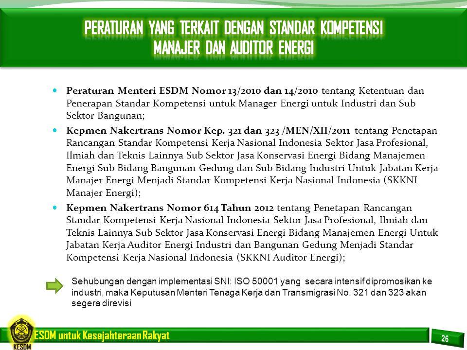 ESDM untuk Kesejahteraan Rakyat Peraturan Menteri ESDM Nomor 13/2010 dan 14/2010 tentang Ketentuan dan Penerapan Standar Kompetensi untuk Manager Ener