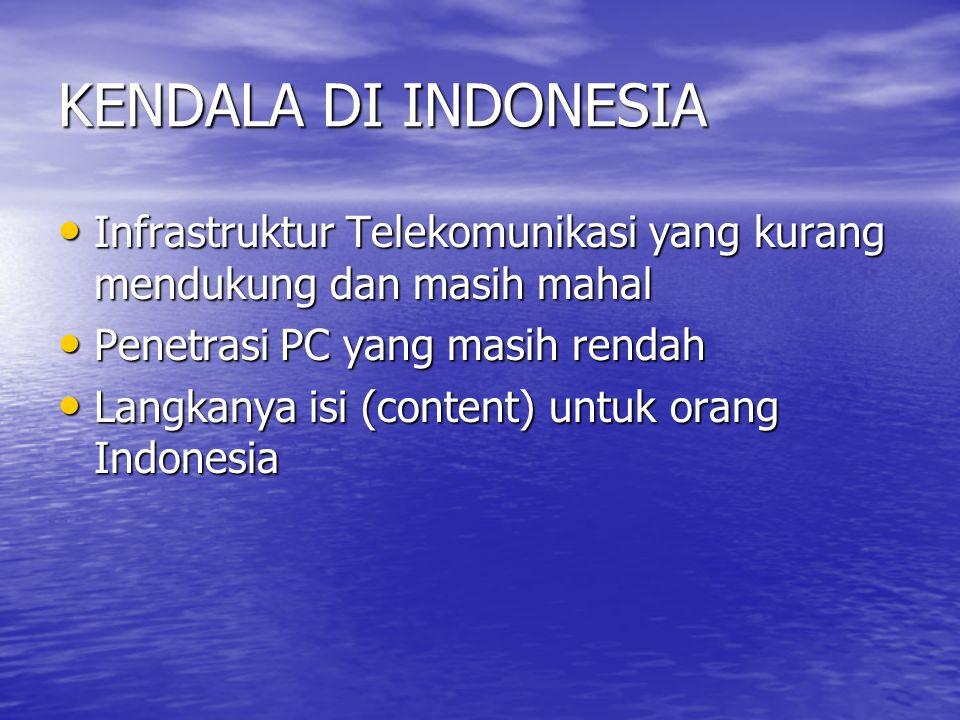 KENDALA DI INDONESIA Infrastruktur Telekomunikasi yang kurang mendukung dan masih mahal Infrastruktur Telekomunikasi yang kurang mendukung dan masih mahal Penetrasi PC yang masih rendah Penetrasi PC yang masih rendah Langkanya isi (content) untuk orang Indonesia Langkanya isi (content) untuk orang Indonesia