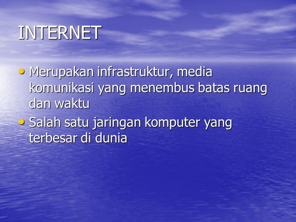 INTERNET Merupakan infrastruktur, media komunikasi yang menembus batas ruang dan waktu Merupakan infrastruktur, media komunikasi yang menembus batas ruang dan waktu Salah satu jaringan komputer yang terbesar di dunia Salah satu jaringan komputer yang terbesar di dunia