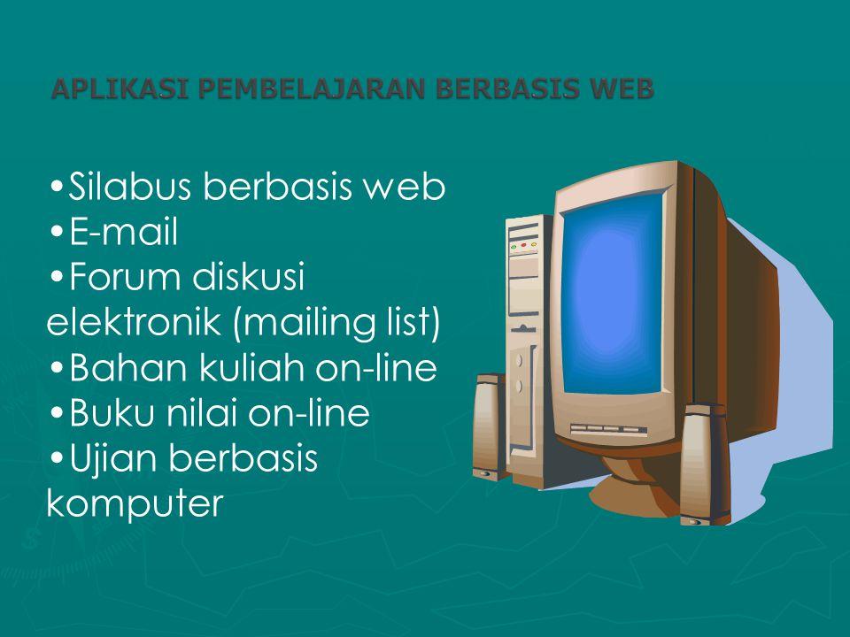 Silabus berbasis web E-mail Forum diskusi elektronik (mailing list) Bahan kuliah on-line Buku nilai on-line Ujian berbasis komputer