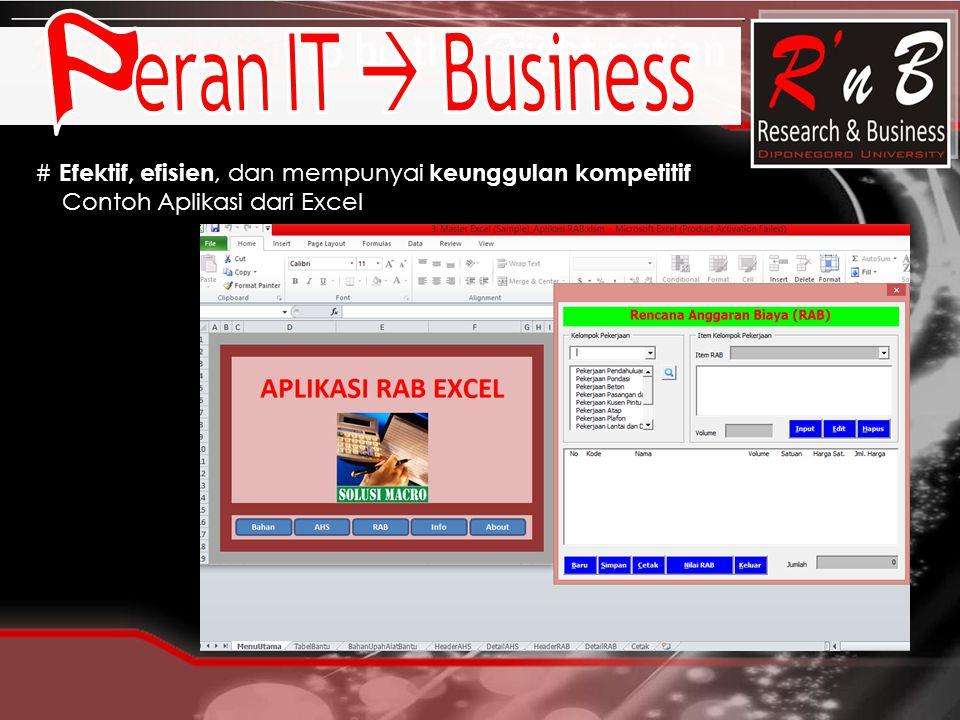 # Efektif, efisien, dan mempunyai keunggulan kompetitif Contoh Aplikasi dari Excel