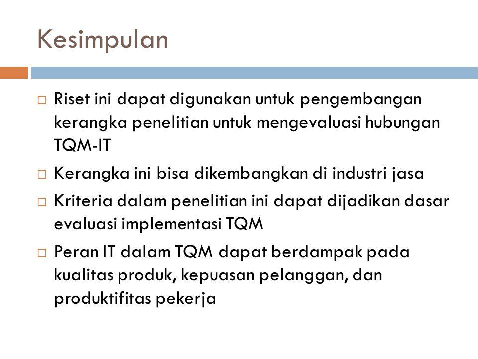 Kesimpulan  Riset ini dapat digunakan untuk pengembangan kerangka penelitian untuk mengevaluasi hubungan TQM-IT  Kerangka ini bisa dikembangkan di industri jasa  Kriteria dalam penelitian ini dapat dijadikan dasar evaluasi implementasi TQM  Peran IT dalam TQM dapat berdampak pada kualitas produk, kepuasan pelanggan, dan produktifitas pekerja
