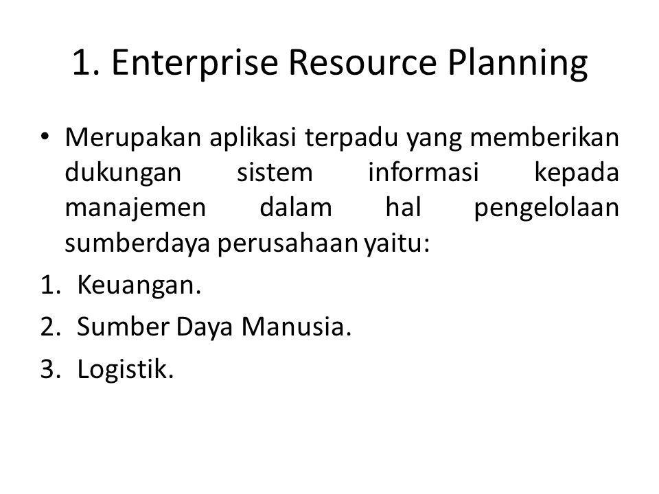 1. Enterprise Resource Planning Merupakan aplikasi terpadu yang memberikan dukungan sistem informasi kepada manajemen dalam hal pengelolaan sumberdaya