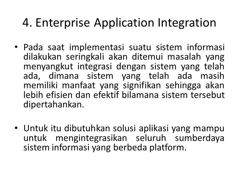 4. Enterprise Application Integration Pada saat implementasi suatu sistem informasi dilakukan seringkali akan ditemui masalah yang menyangkut integras