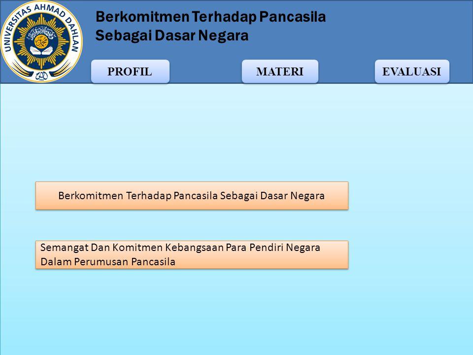 Berkomitmen Terhadap Pancasila Sebagai Dasar Negara MATERI PROFIL EVALUASI NAMA: Setiawan Gusmadi TTL: Bangka, 01-01-1993 NIM: 11009038 Prodi: PPKn