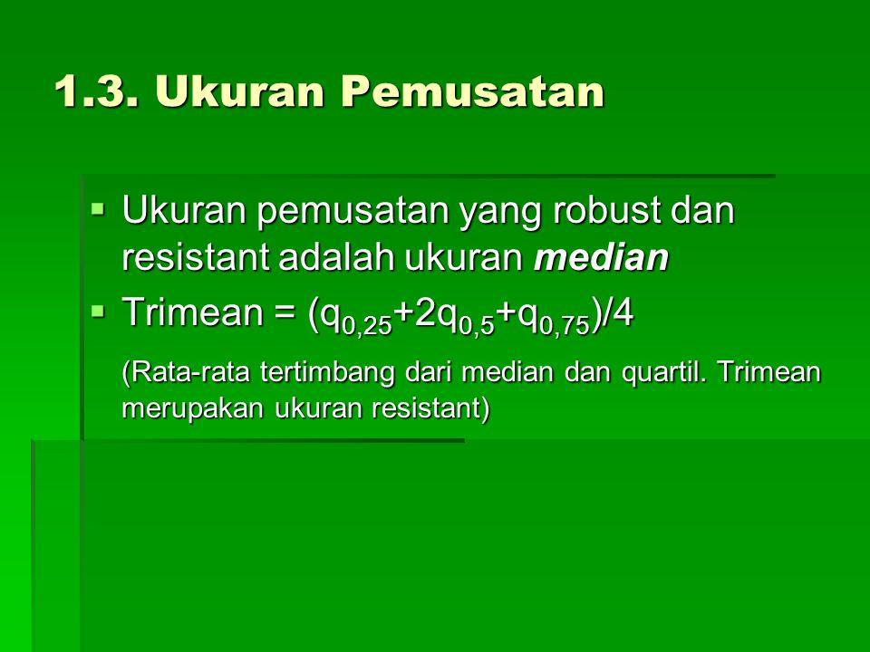 1.3. Ukuran Pemusatan  Ukuran pemusatan yang robust dan resistant adalah ukuran median  Trimean = (q 0,25 +2q 0,5 +q 0,75 )/4 (Rata-rata tertimbang