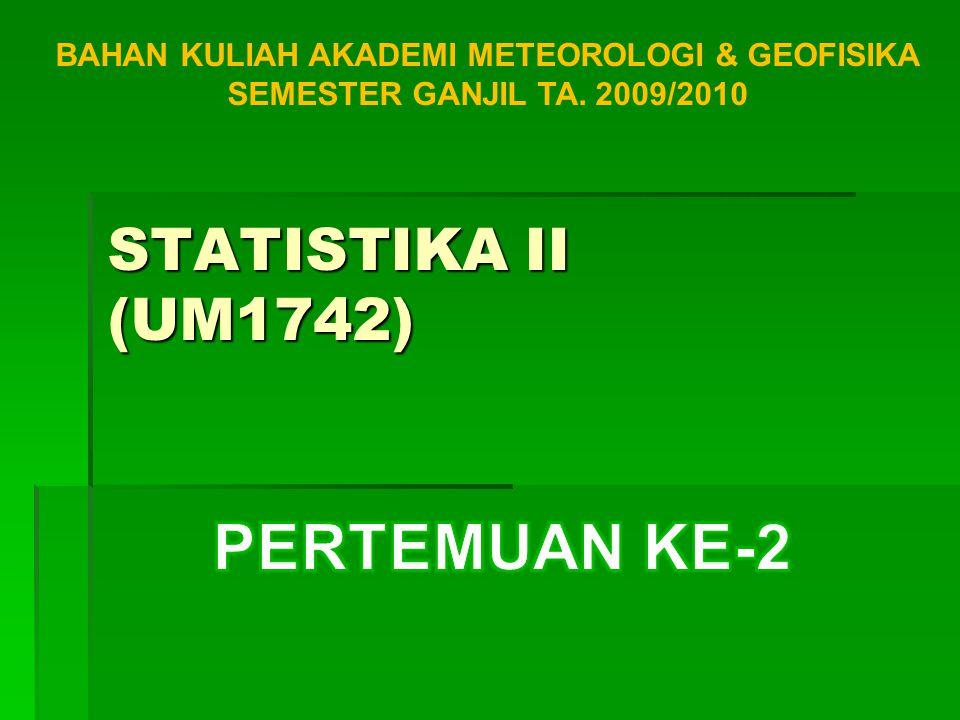 BAHAN KULIAH AKADEMI METEOROLOGI & GEOFISIKA SEMESTER GANJIL TA. 2009/2010 STATISTIKA II (UM1742)