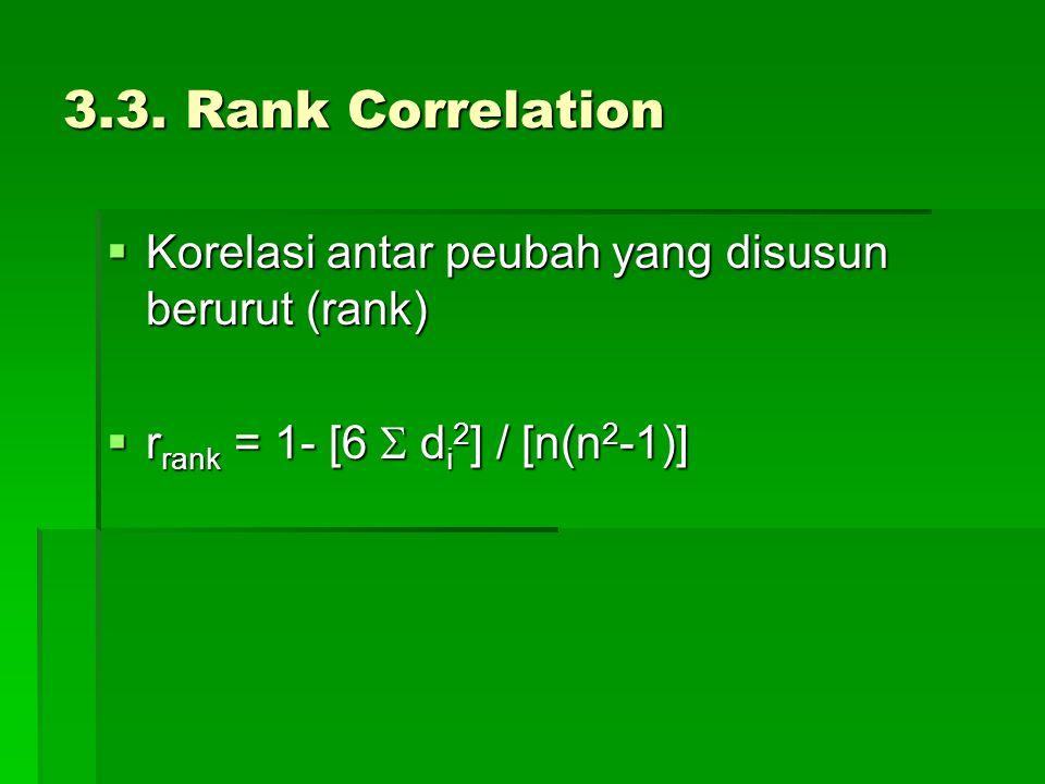 3.3. Rank Correlation  Korelasi antar peubah yang disusun berurut (rank)  r rank = 1- [6  d i 2 ] / [n(n 2 -1)]
