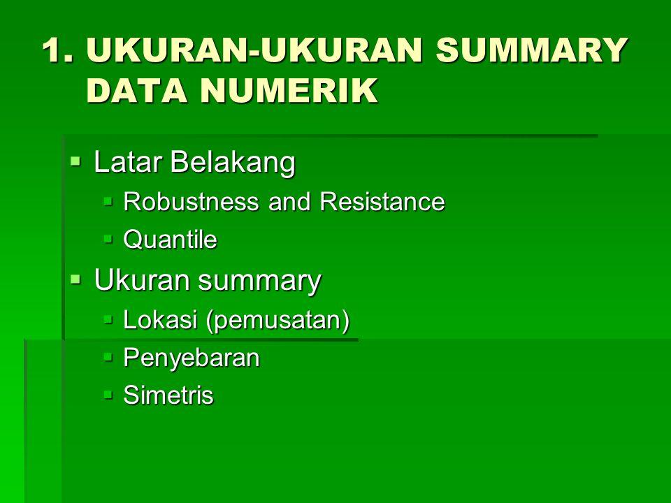 1. UKURAN-UKURAN SUMMARY DATA NUMERIK  Latar Belakang  Robustness and Resistance  Quantile  Ukuran summary  Lokasi (pemusatan)  Penyebaran  Sim