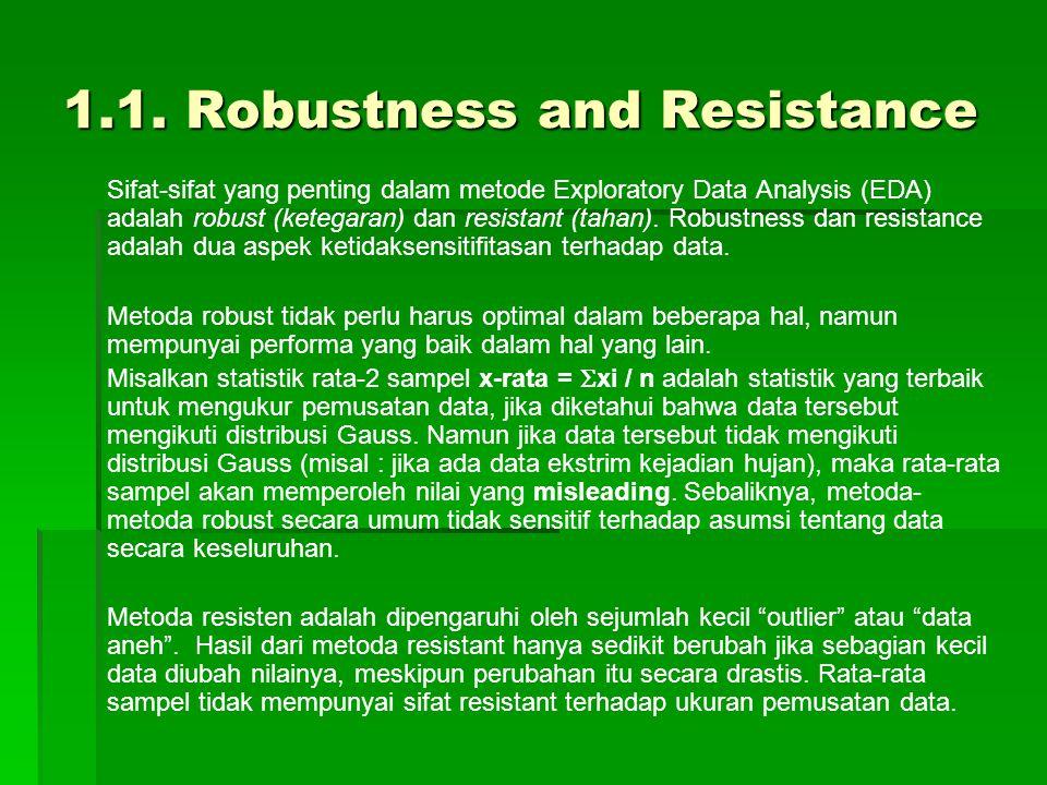 1.1. Robustness and Resistance Sifat-sifat yang penting dalam metode Exploratory Data Analysis (EDA) adalah robust (ketegaran) dan resistant (tahan).
