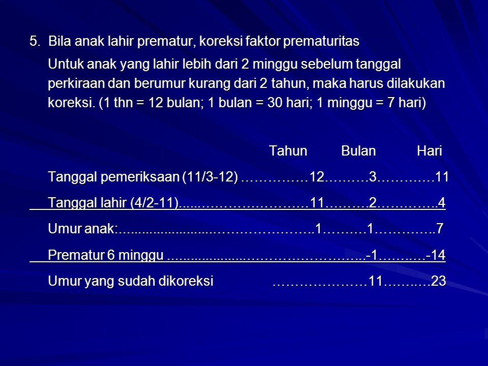 5. Bila anak lahir prematur, koreksi faktor prematuritas Untuk anak yang lahir lebih dari 2 minggu sebelum tanggal perkiraan dan berumur kurang dari 2