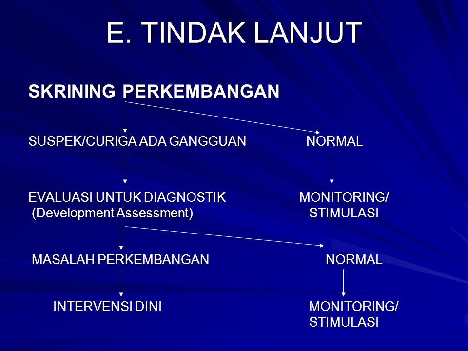 E. TINDAK LANJUT SKRINING PERKEMBANGAN SUSPEK/CURIGA ADA GANGGUAN NORMAL EVALUASI UNTUK DIAGNOSTIK MONITORING/ (Development Assessment)STIMULASI (Deve