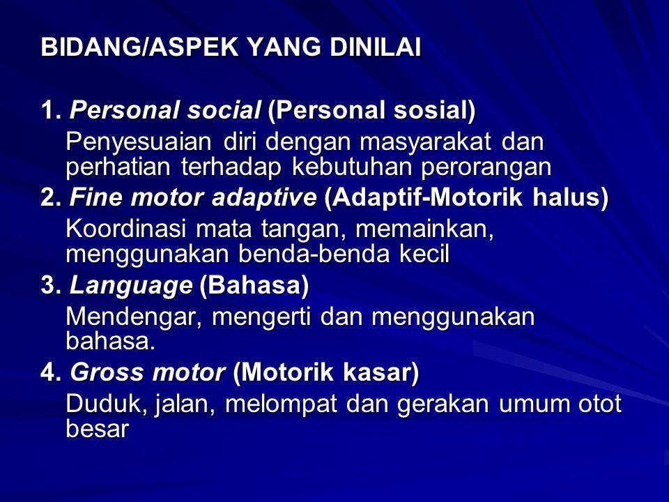 BIDANG/ASPEK YANG DINILAI 1. Personal social (Personal sosial) Penyesuaian diri dengan masyarakat dan perhatian terhadap kebutuhan perorangan 2. Fine