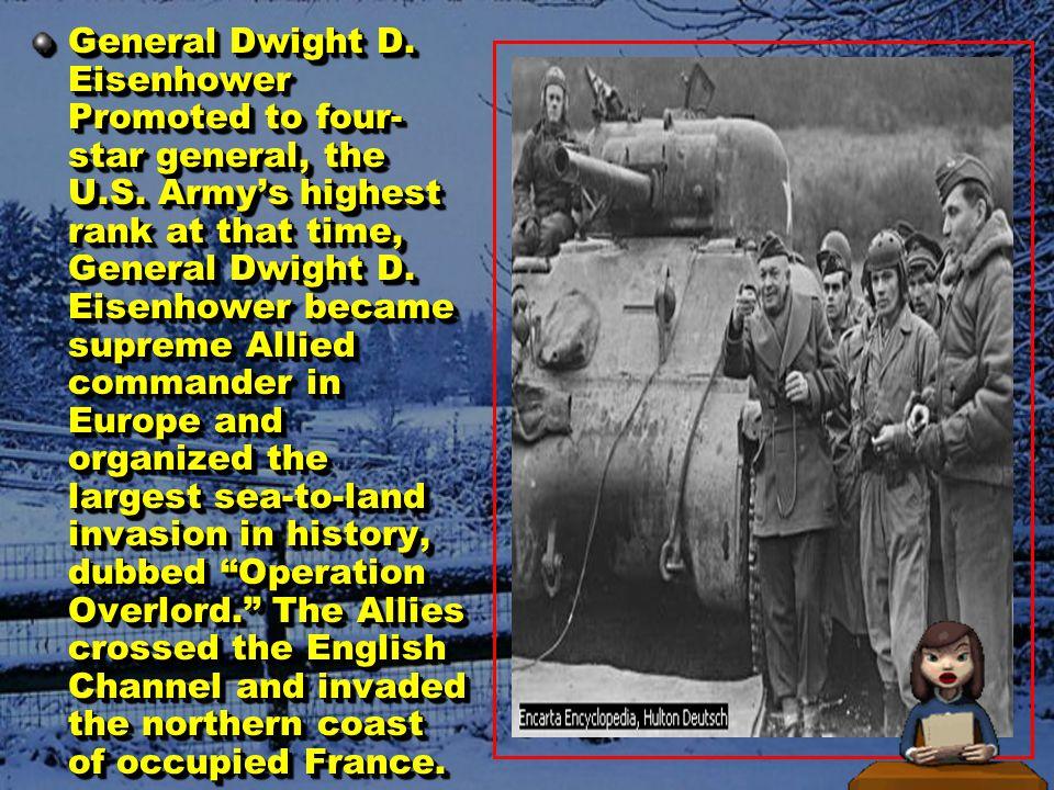 Tahun 1944 I.1 Mei, Italia menyerah pada Sekutu yang dipimpin oleh Jenderal Eisenhower II.6 Juni, pasukan Sekutu mendarat secara besar – besaran di Normandia, Prancis.