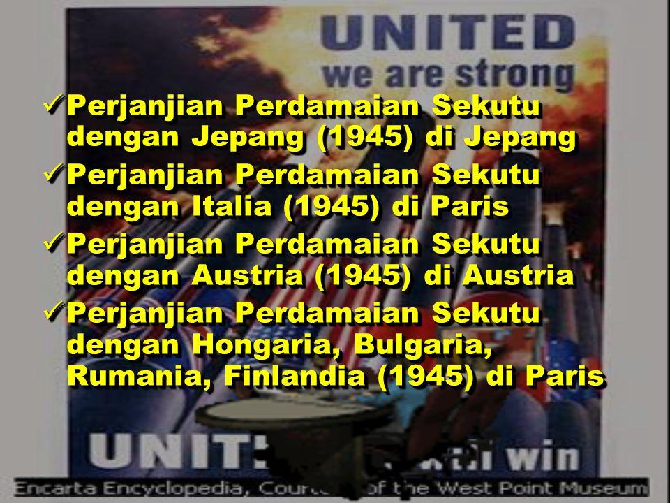 PERJANJIAN – PERJANJIAN PERDAMAIAN PERJANJIAN – PERJANJIAN PERDAMAIAN Konferensi Postdam ( 2 Agustus 1945 ) Konferensi Postdam ( 2 Agustus 1945 ) The Potsdam Conference was held in 1945 in the city of Potsdam, near Berlin, ten weeks after Germany's surrender in World War II.