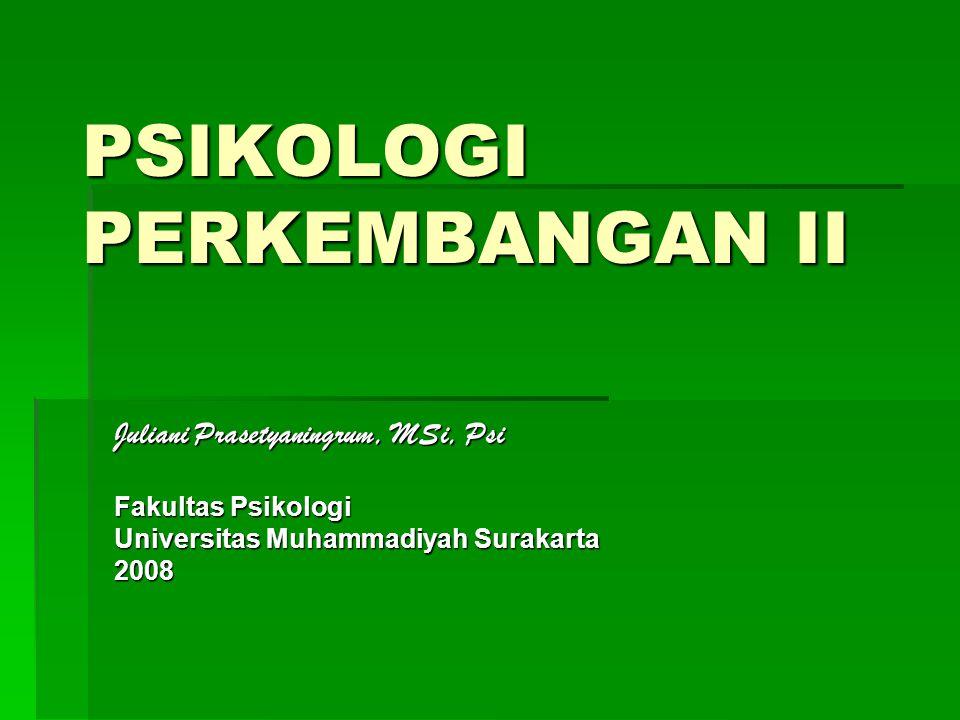 PSIKOLOGI PERKEMBANGAN II Juliani Prasetyaningrum, MSi, Psi Fakultas Psikologi Universitas Muhammadiyah Surakarta 2008