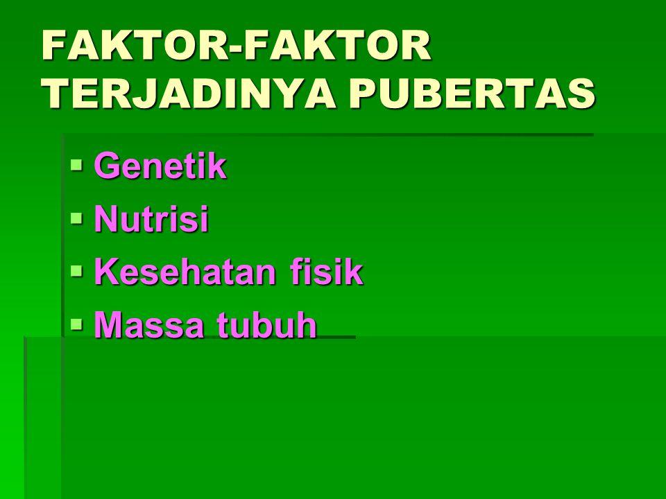 FAKTOR-FAKTOR TERJADINYA PUBERTAS  Genetik  Nutrisi  Kesehatan fisik  Massa tubuh