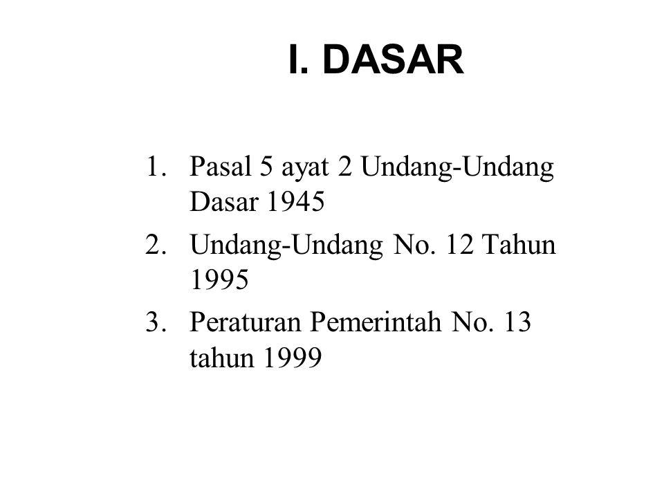 I. DASAR 1.Pasal 5 ayat 2 Undang-Undang Dasar 1945 2.Undang-Undang No.