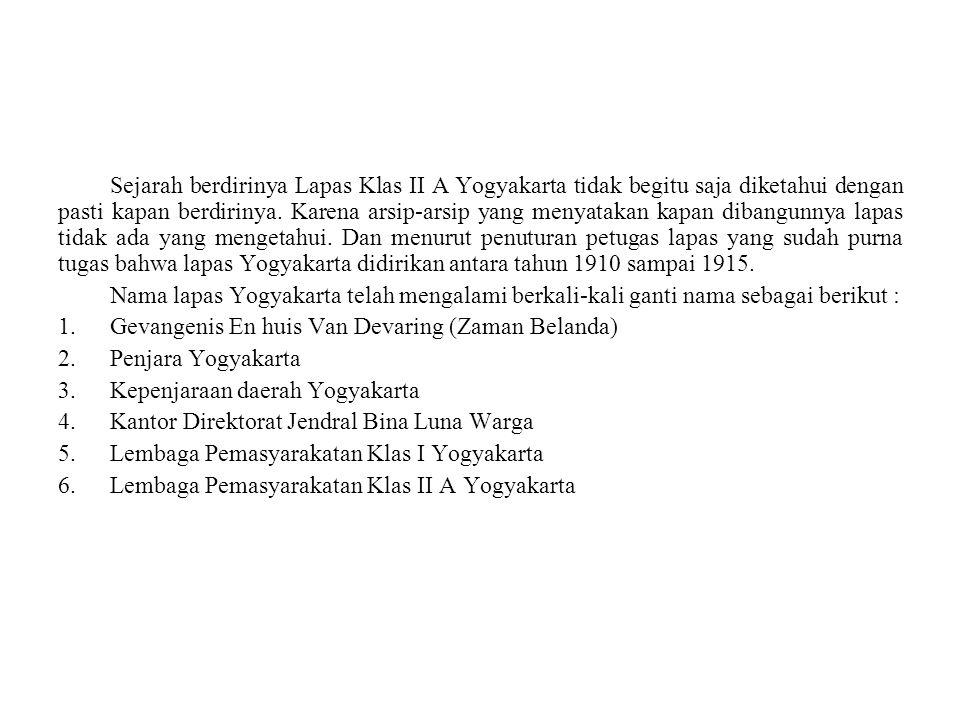 Sejarah berdirinya Lapas Klas II A Yogyakarta tidak begitu saja diketahui dengan pasti kapan berdirinya.