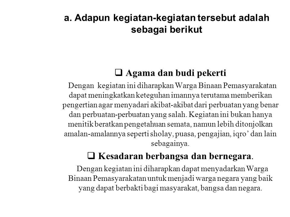 a. Adapun kegiatan-kegiatan tersebut adalah sebagai berikut  Agama dan budi pekerti Dengan kegiatan ini diharapkan Warga Binaan Pemasyarakatan dapat