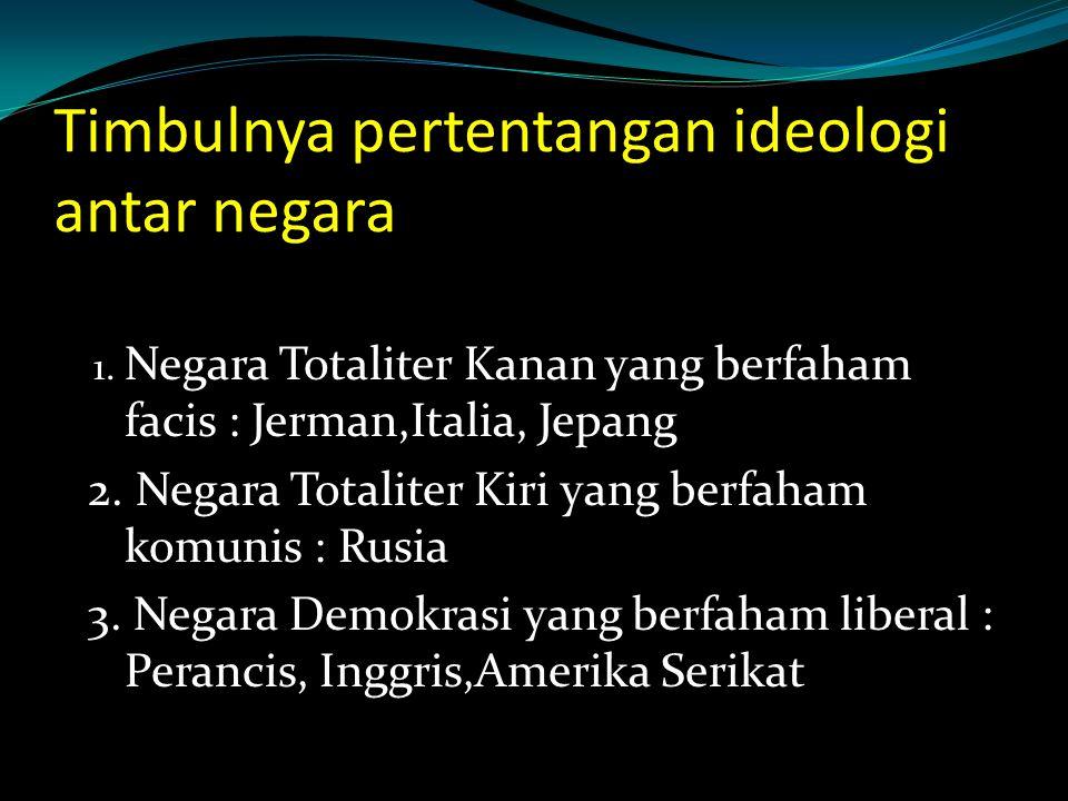 Timbulnya pertentangan ideologi antar negara 1.