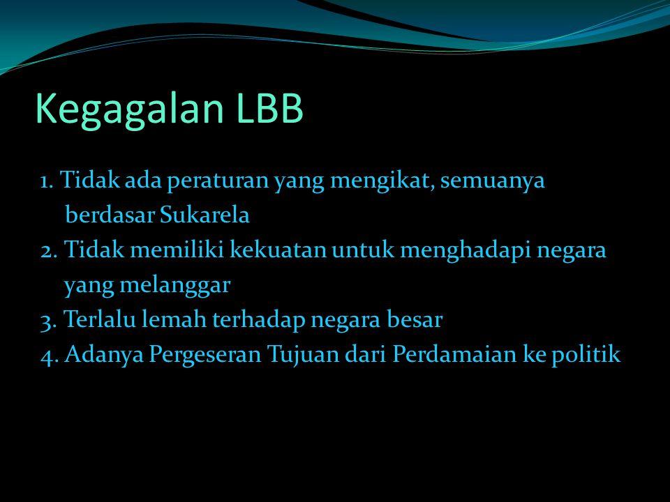 Kegagalan LBB 1.Tidak ada peraturan yang mengikat, semuanya berdasar Sukarela 2.