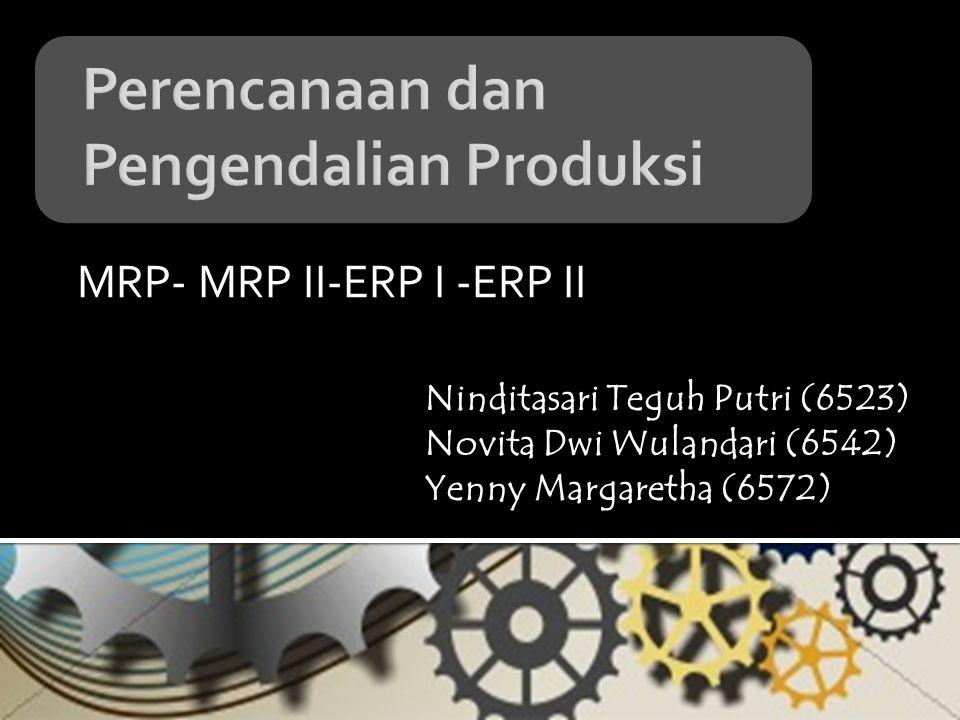 MRP- MRP II-ERP I -ERP II Ninditasari Teguh Putri (6523) Novita Dwi Wulandari (6542) Yenny Margaretha (6572)