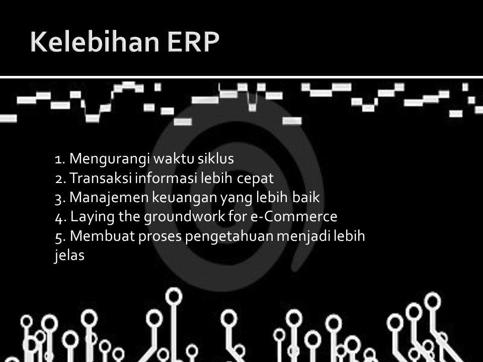 1. Mengurangi waktu siklus 2. Transaksi informasi lebih cepat 3. Manajemen keuangan yang lebih baik 4. Laying the groundwork for e-Commerce 5. Membuat
