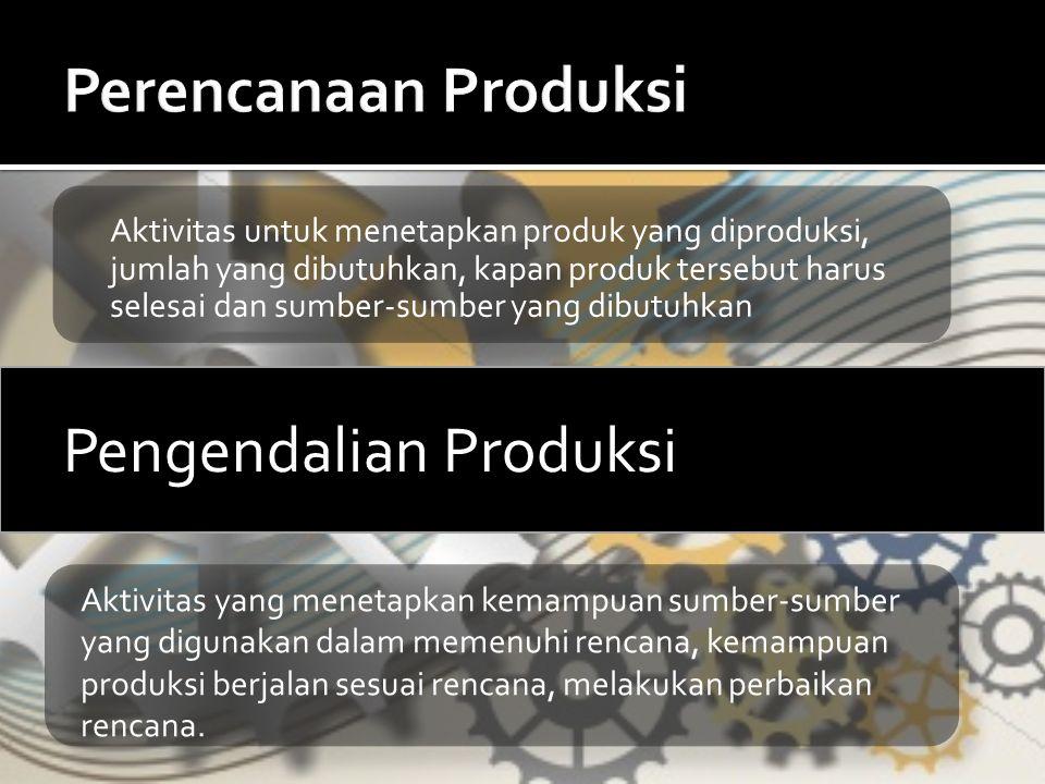 Aktivitas untuk menetapkan produk yang diproduksi, jumlah yang dibutuhkan, kapan produk tersebut harus selesai dan sumber-sumber yang dibutuhkan Penge