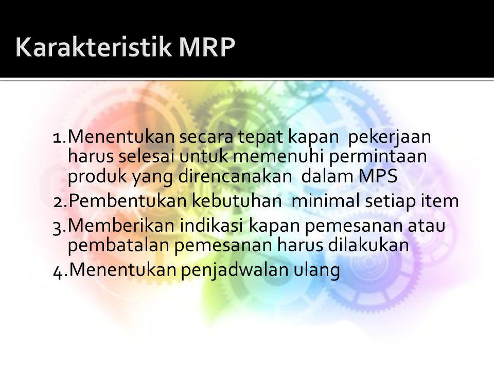 1.Menentukan secara tepat kapan pekerjaan harus selesai untuk memenuhi permintaan produk yang direncanakan dalam MPS 2.Pembentukan kebutuhan minimal s