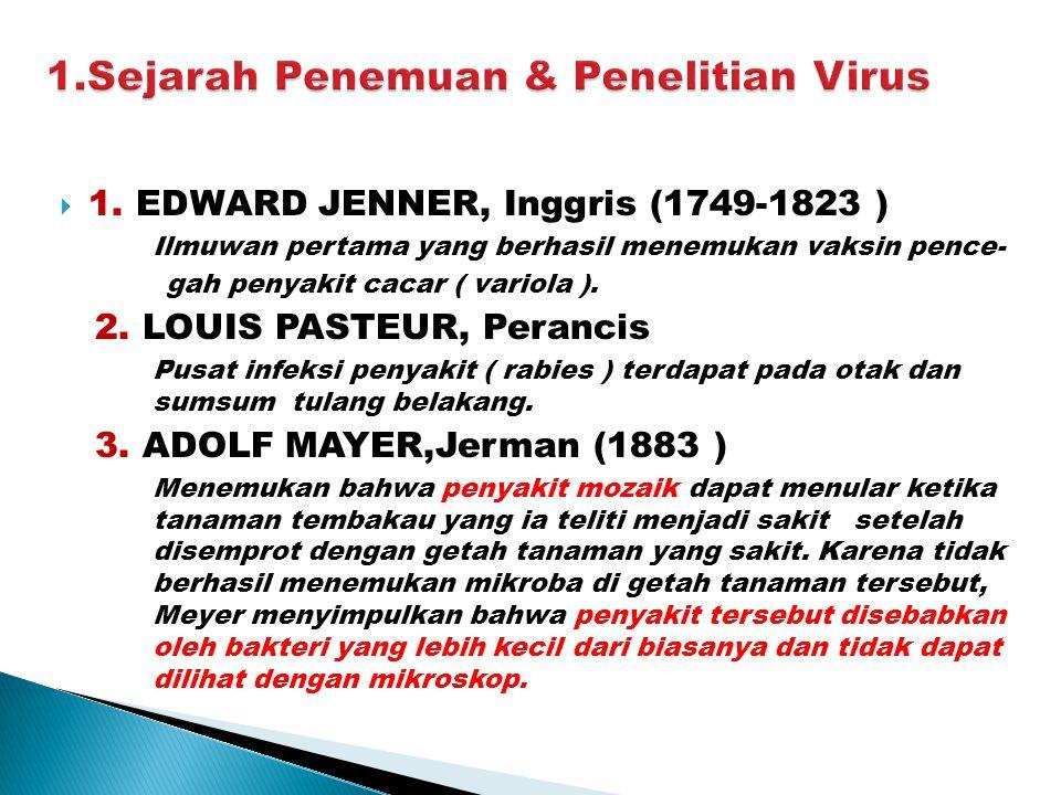  1. EDWARD JENNER, Inggris (1749-1823 ) Ilmuwan pertama yang berhasil menemukan vaksin pence- gah penyakit cacar ( variola ). 2. LOUIS PASTEUR, Peran