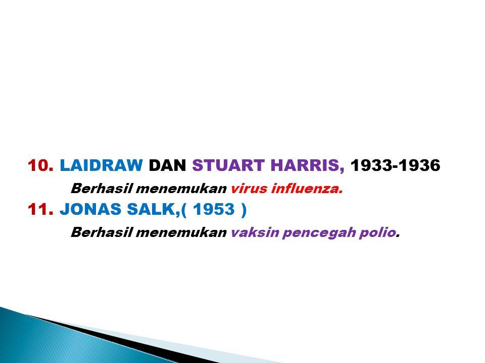 10. LAIDRAW DAN STUART HARRIS, 1933-1936 Berhasil menemukan virus influenza. 11. JONAS SALK,( 1953 ) Berhasil menemukan vaksin pencegah polio.