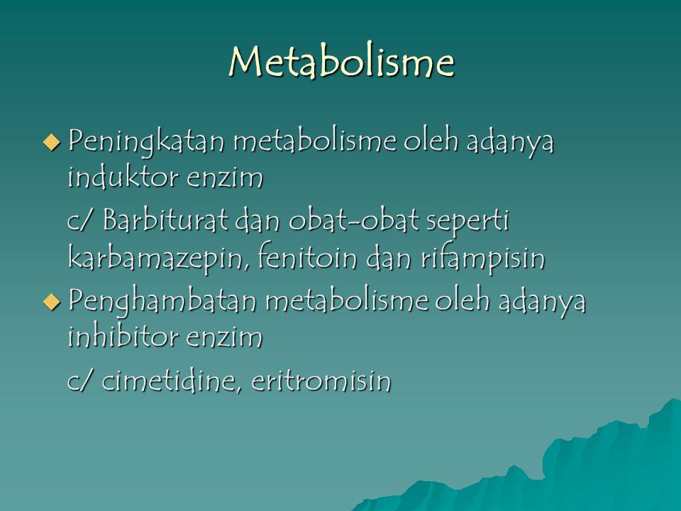 Metabolisme  Peningkatan metabolisme oleh adanya induktor enzim c/ Barbiturat dan obat-obat seperti karbamazepin, fenitoin dan rifampisin  Penghamba