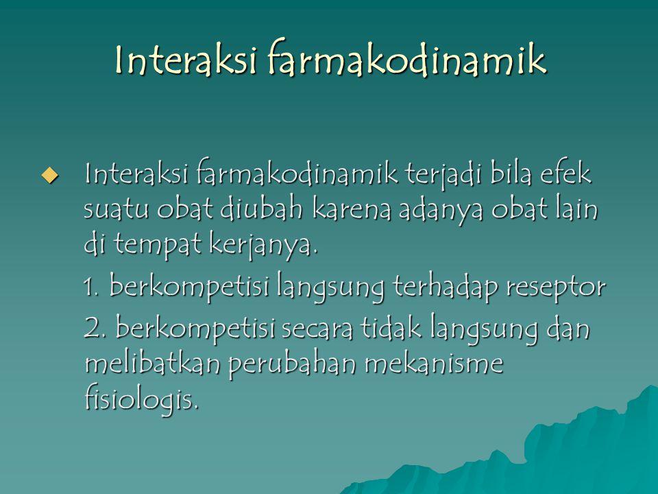 Interaksi farmakodinamik  Interaksi farmakodinamik terjadi bila efek suatu obat diubah karena adanya obat lain di tempat kerjanya. 1. berkompetisi la