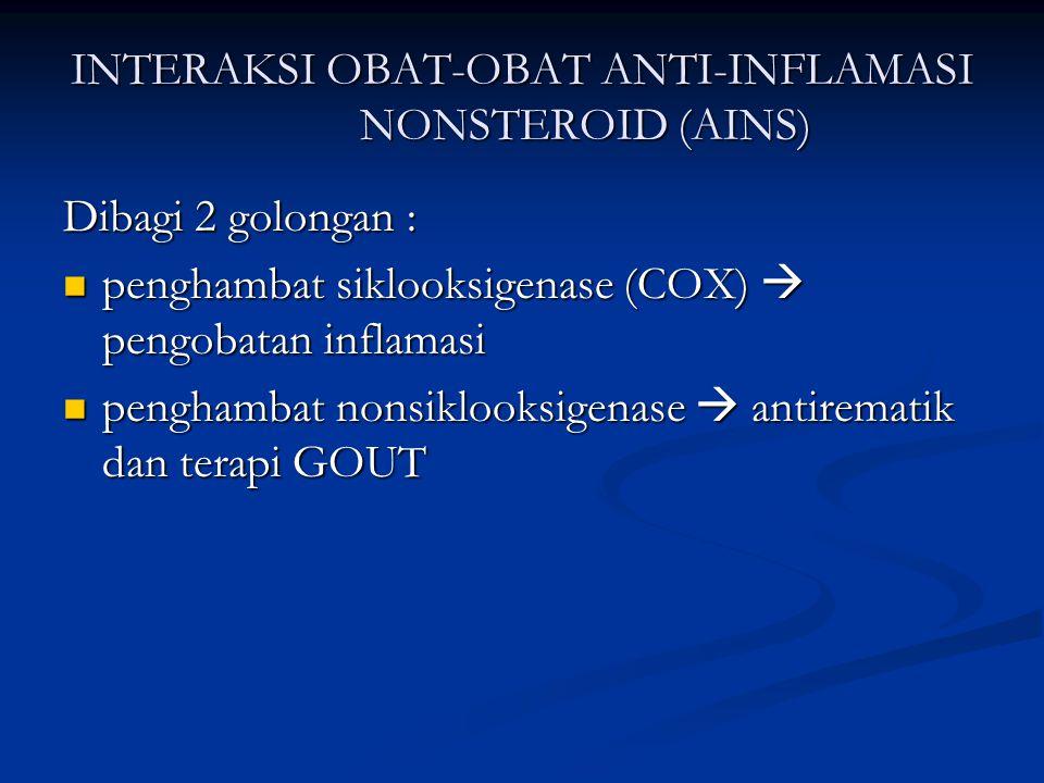 INTERAKSI OBAT-OBAT ANTI-INFLAMASI NONSTEROID (AINS) Dibagi 2 golongan : penghambat siklooksigenase (COX)  pengobatan inflamasi penghambat siklooksig