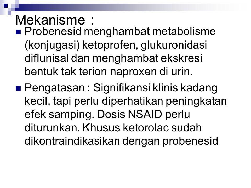 Mekanisme : Probenesid menghambat metabolisme (konjugasi) ketoprofen, glukuronidasi diflunisal dan menghambat ekskresi bentuk tak terion naproxen di u