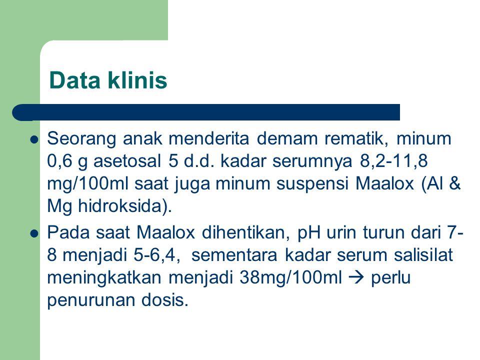 Data klinis Seorang anak menderita demam rematik, minum 0,6 g asetosal 5 d.d. kadar serumnya 8,2-11,8 mg/100ml saat juga minum suspensi Maalox (Al & M