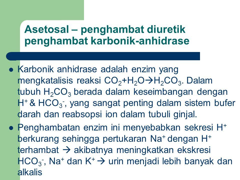 Asetosal – penghambat diuretik penghambat karbonik-anhidrase Karbonik anhidrase adalah enzim yang mengkatalisis reaksi CO 2 +H 2 O  H 2 CO 3. Dalam t