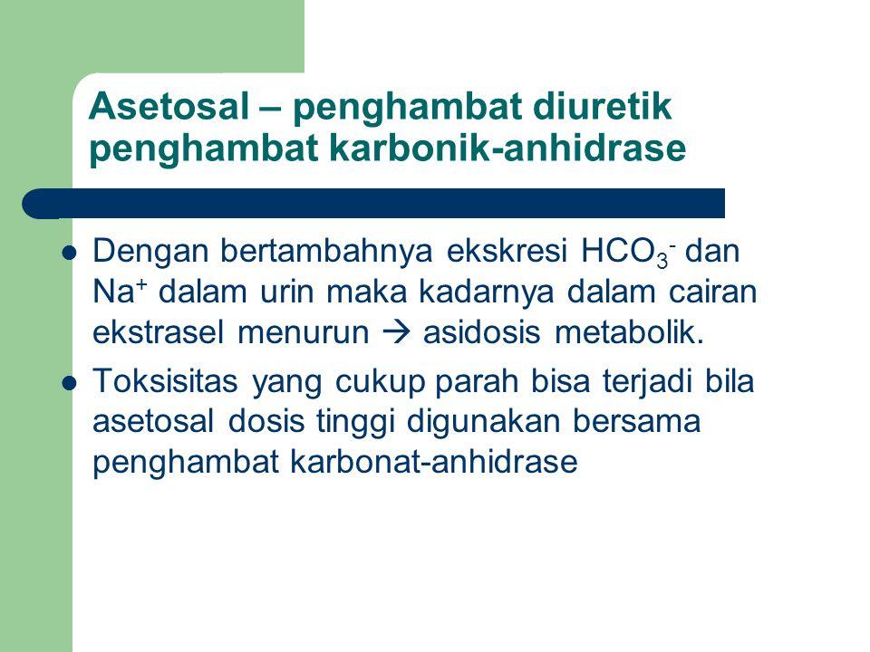 Asetosal – penghambat diuretik penghambat karbonik-anhidrase Dengan bertambahnya ekskresi HCO 3 - dan Na + dalam urin maka kadarnya dalam cairan ekstr