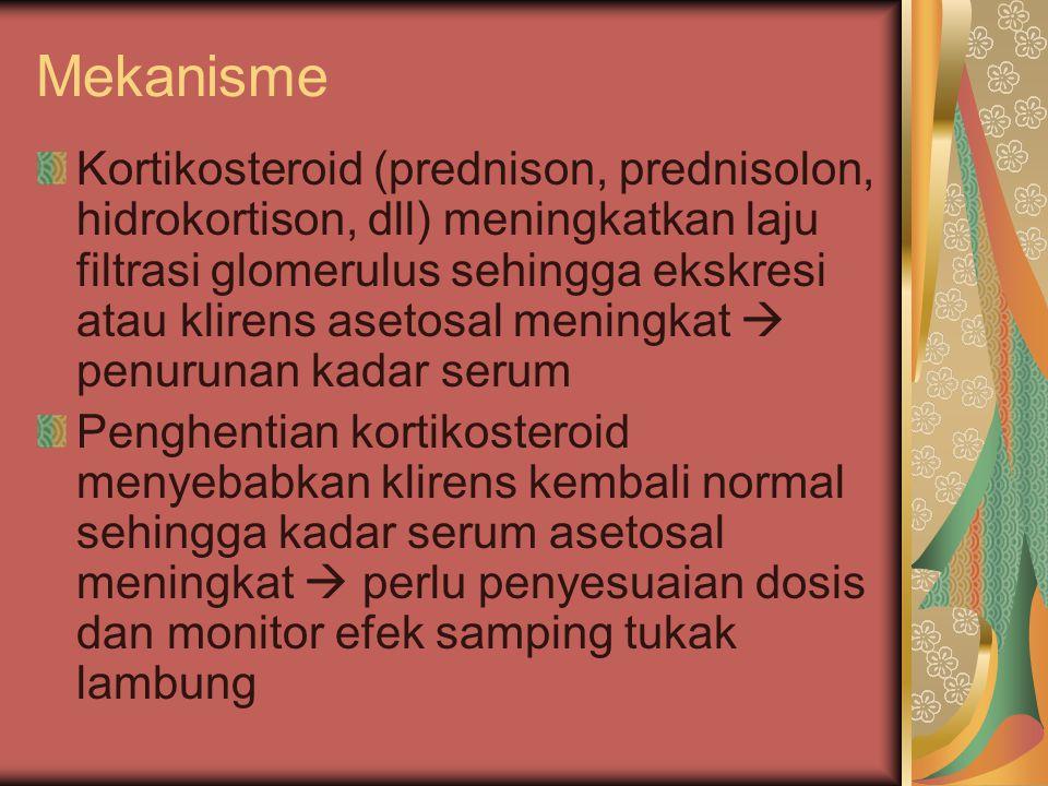 Mekanisme Kortikosteroid (prednison, prednisolon, hidrokortison, dll) meningkatkan laju filtrasi glomerulus sehingga ekskresi atau klirens asetosal me