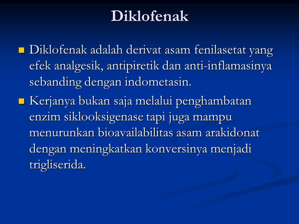 Diklofenak Diklofenak adalah derivat asam fenilasetat yang efek analgesik, antipiretik dan anti-inflamasinya sebanding dengan indometasin. Diklofenak