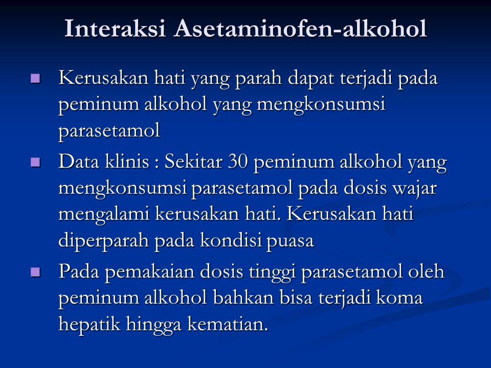 Interaksi Asetaminofen-alkohol Kerusakan hati yang parah dapat terjadi pada peminum alkohol yang mengkonsumsi parasetamol Kerusakan hati yang parah da