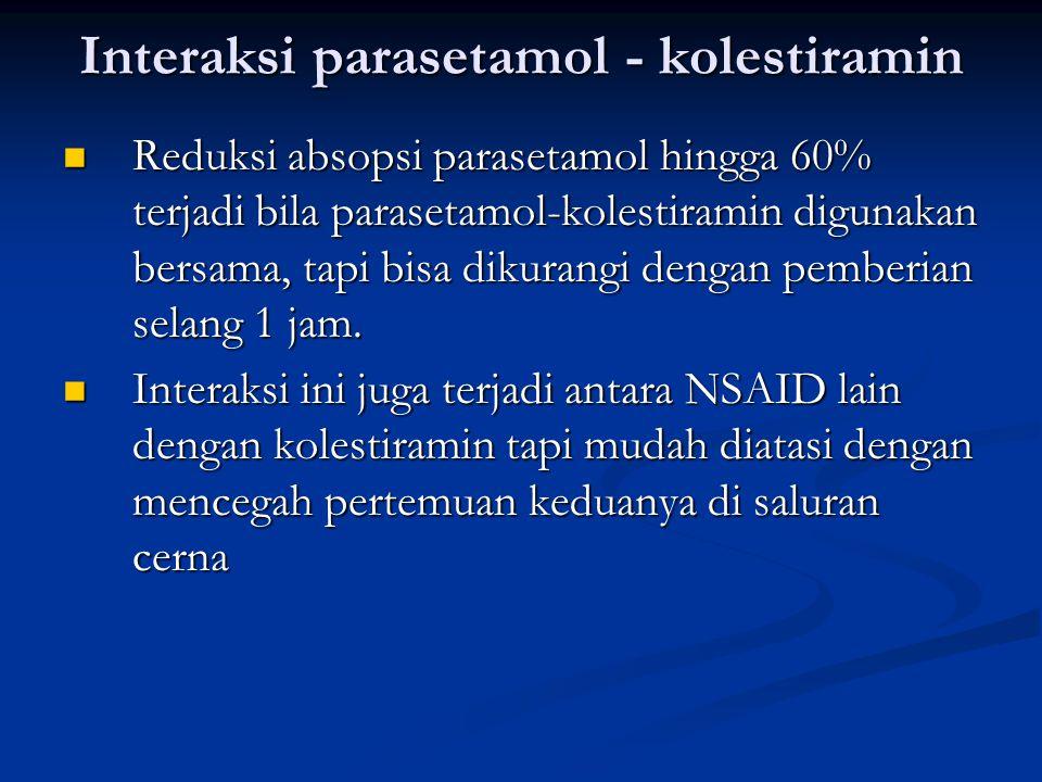 Interaksi parasetamol - kolestiramin Reduksi absopsi parasetamol hingga 60% terjadi bila parasetamol-kolestiramin digunakan bersama, tapi bisa dikuran
