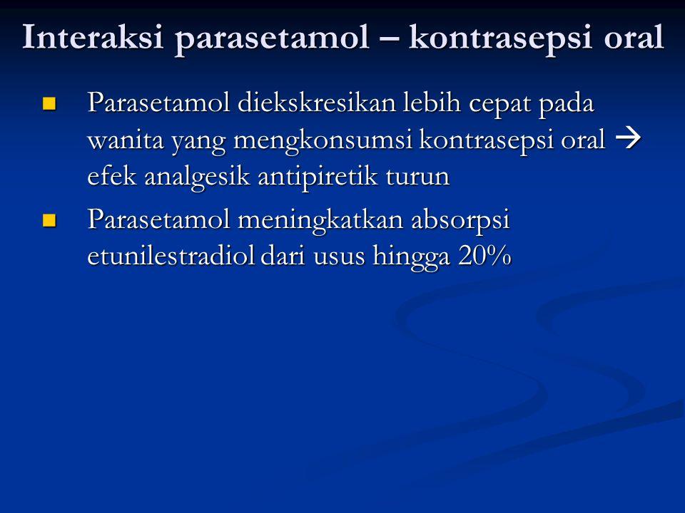Interaksi parasetamol – kontrasepsi oral Parasetamol diekskresikan lebih cepat pada wanita yang mengkonsumsi kontrasepsi oral  efek analgesik antipir