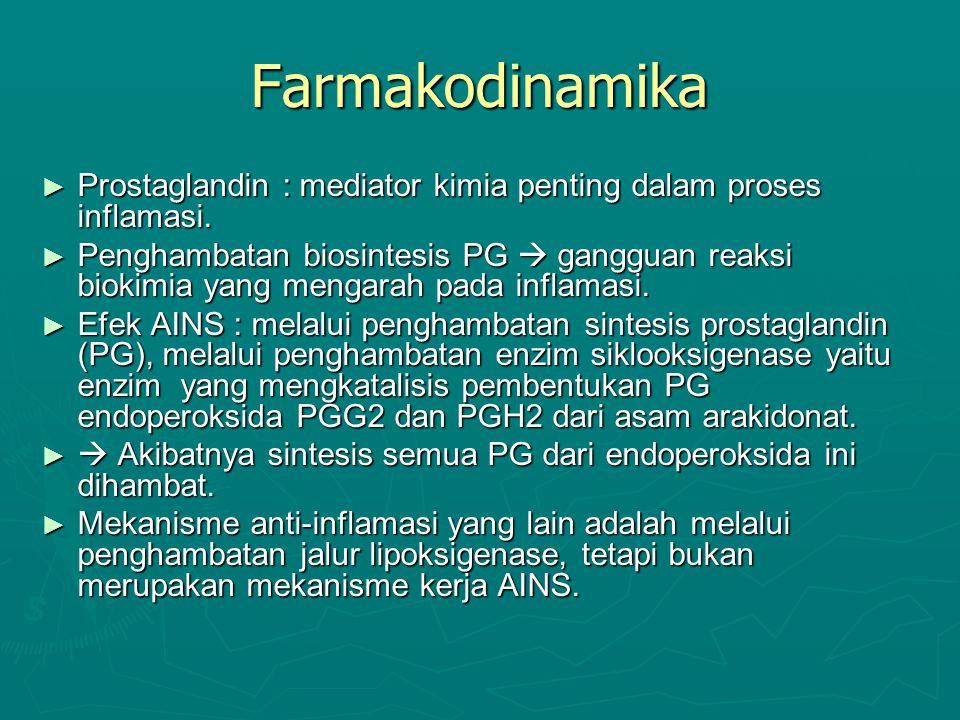 Farmakodinamika ► Prostaglandin : mediator kimia penting dalam proses inflamasi. ► Penghambatan biosintesis PG  gangguan reaksi biokimia yang mengara