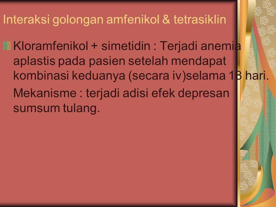 Interaksi golongan amfenikol & tetrasiklin Kloramfenikol + simetidin : Terjadi anemia aplastis pada pasien setelah mendapat kombinasi keduanya (secara