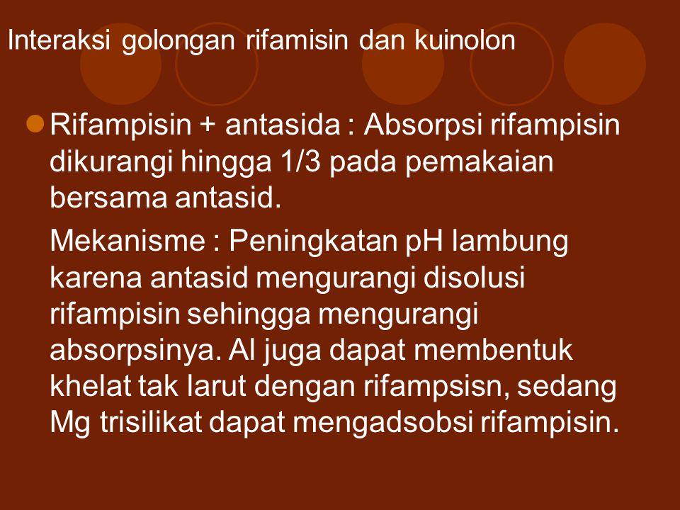 Interaksi golongan rifamisin dan kuinolon Rifampisin + antasida : Absorpsi rifampisin dikurangi hingga 1/3 pada pemakaian bersama antasid. Mekanisme :