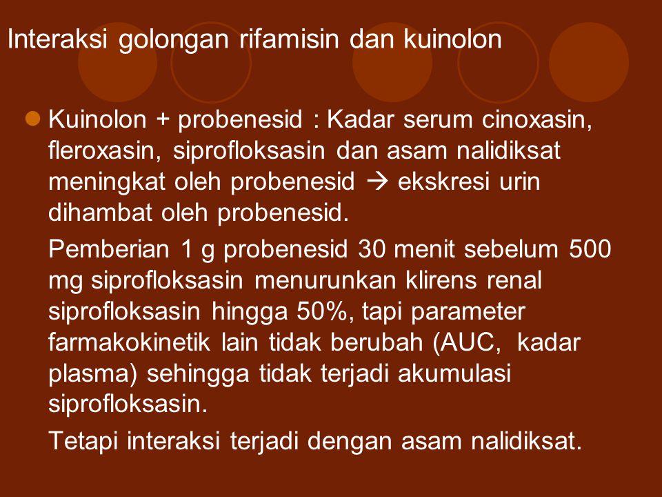 Interaksi golongan rifamisin dan kuinolon Kuinolon + probenesid : Kadar serum cinoxasin, fleroxasin, siprofloksasin dan asam nalidiksat meningkat oleh